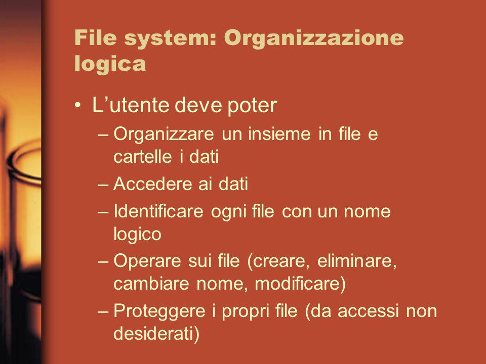 File system: Organizzazione logica L'utente deve poter –Organizzare un insieme in file e cartelle i dati –Accedere ai dati –Identificare ogni file con