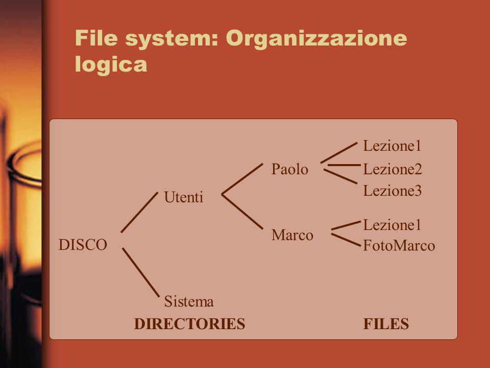 File system: Organizzazione logica DISCO Utenti Sistema Paolo Marco Lezione1 Lezione2 Lezione3 Lezione1 FotoMarco DIRECTORIESFILES