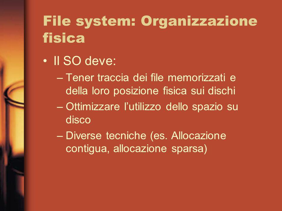 File system: Organizzazione fisica Il SO deve: –Tener traccia dei file memorizzati e della loro posizione fisica sui dischi –Ottimizzare l'utilizzo dello spazio su disco –Diverse tecniche (es.