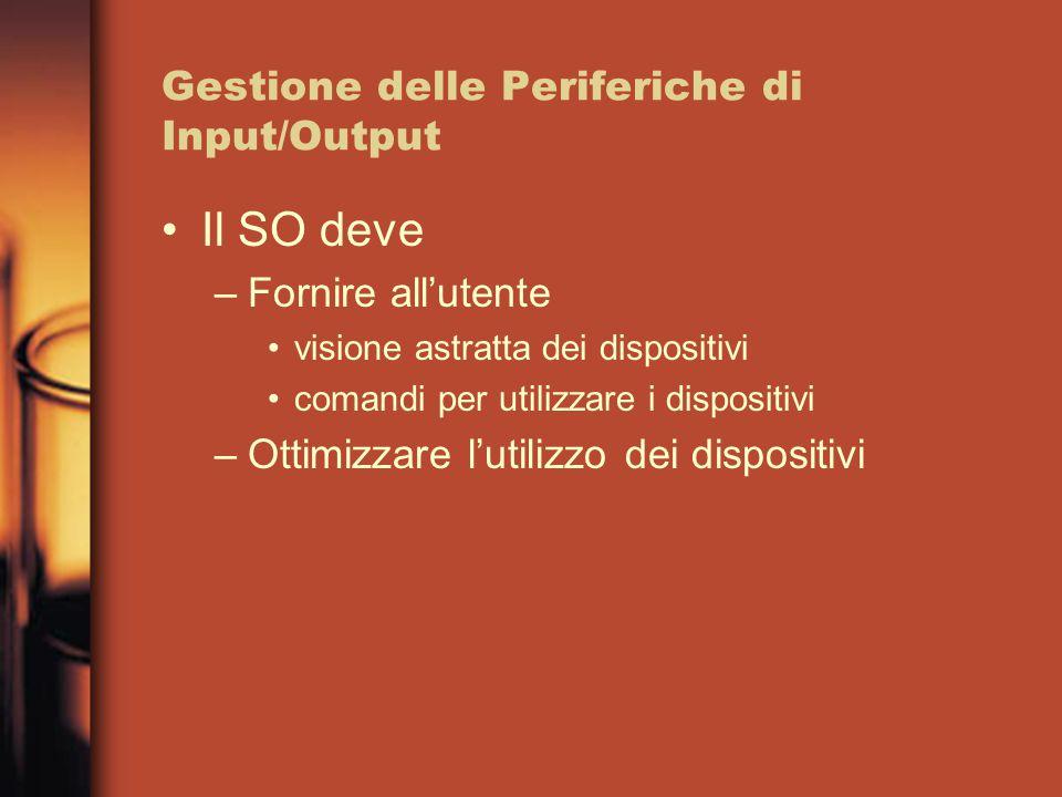 Gestione delle Periferiche di Input/Output Il SO deve –Fornire all'utente visione astratta dei dispositivi comandi per utilizzare i dispositivi –Ottim