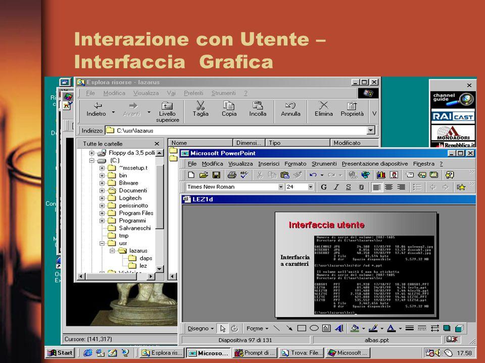 Interazione con Utente – Interfaccia Grafica