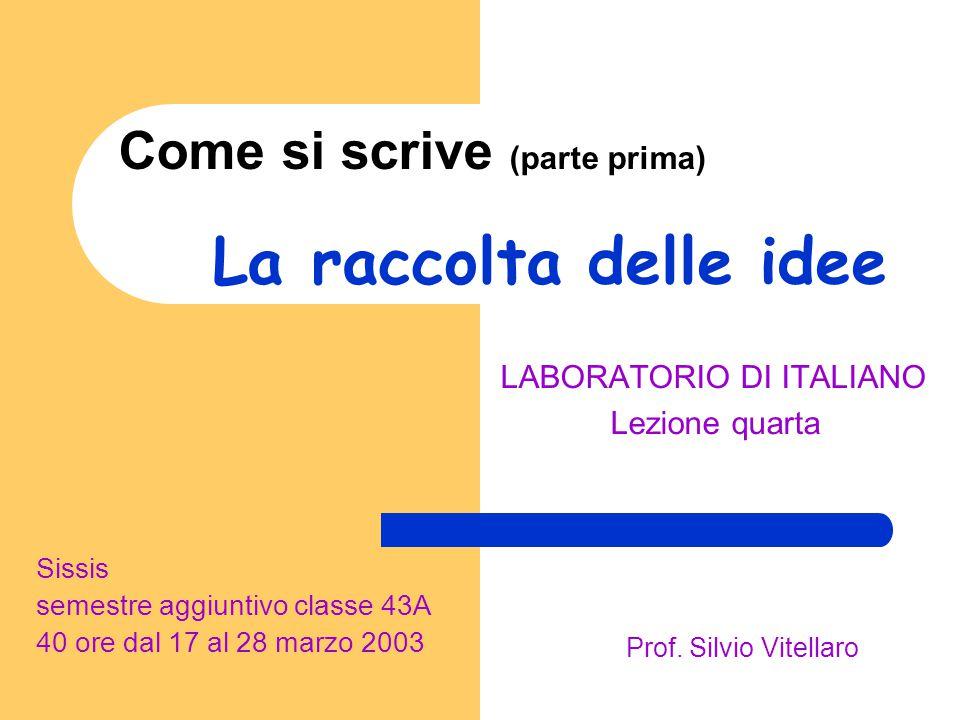 Come si scrive (parte prima) LABORATORIO DI ITALIANO Lezione quarta Sissis semestre aggiuntivo classe 43A 40 ore dal 17 al 28 marzo 2003 Prof. Silvio