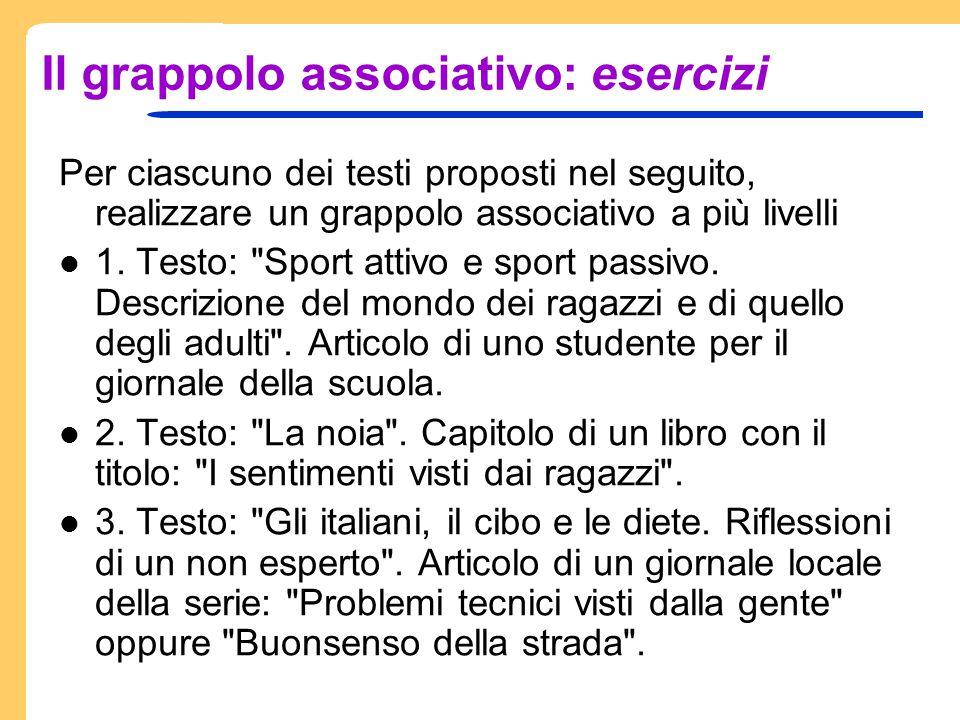 Il grappolo associativo: esercizi Per ciascuno dei testi proposti nel seguito, realizzare un grappolo associativo a più livelli 1. Testo: