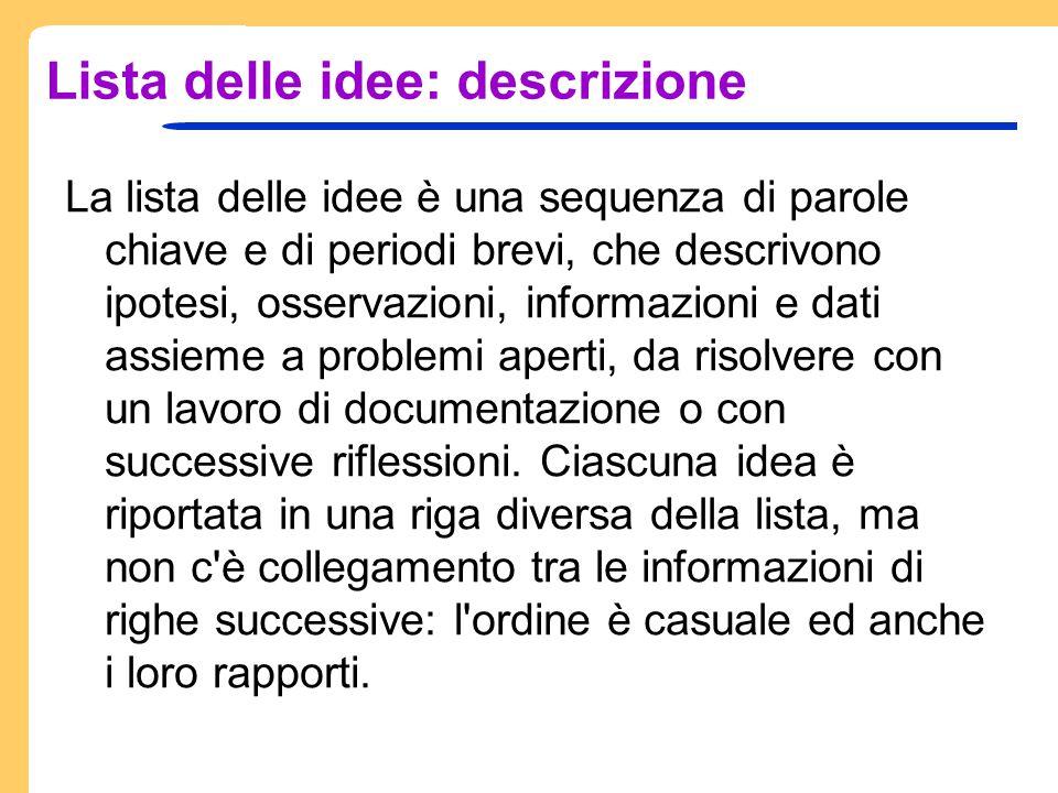 Lista delle idee: descrizione La lista delle idee è una sequenza di parole chiave e di periodi brevi, che descrivono ipotesi, osservazioni, informazio