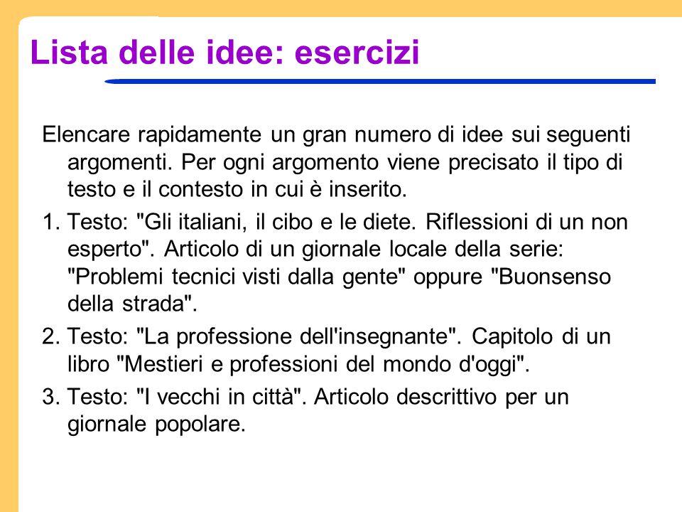 Il grappolo associativo Un altro metodo per raccogliere le idee è il grappolo associativo, che evidenzia con una rappresentazione grafica le associazioni tra le idee.