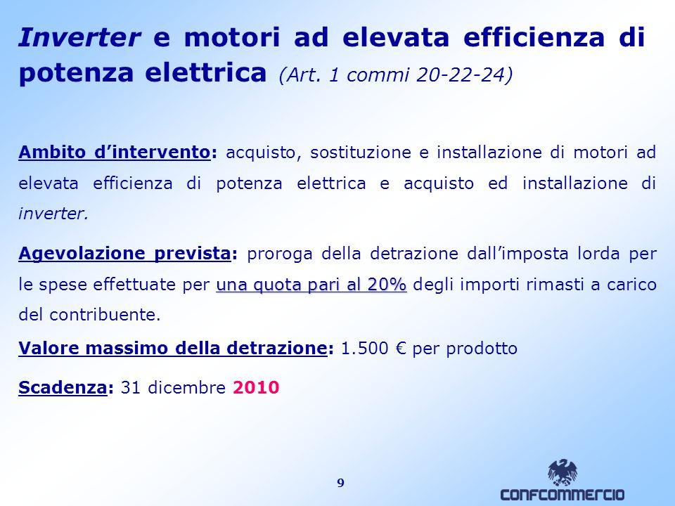 9 Inverter e motori ad elevata efficienza di potenza elettrica (Art.