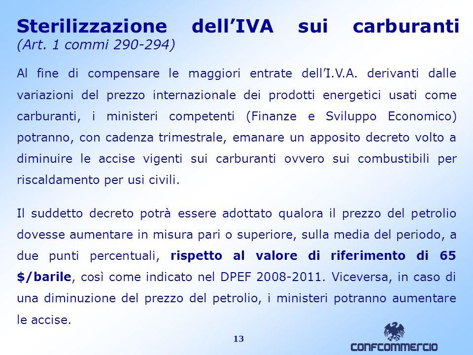 13 Sterilizzazione dell'IVA sui carburanti (Art.