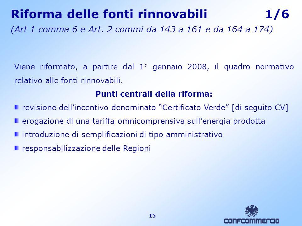15 Riforma delle fonti rinnovabili 1/6 (Art 1 comma 6 e Art.