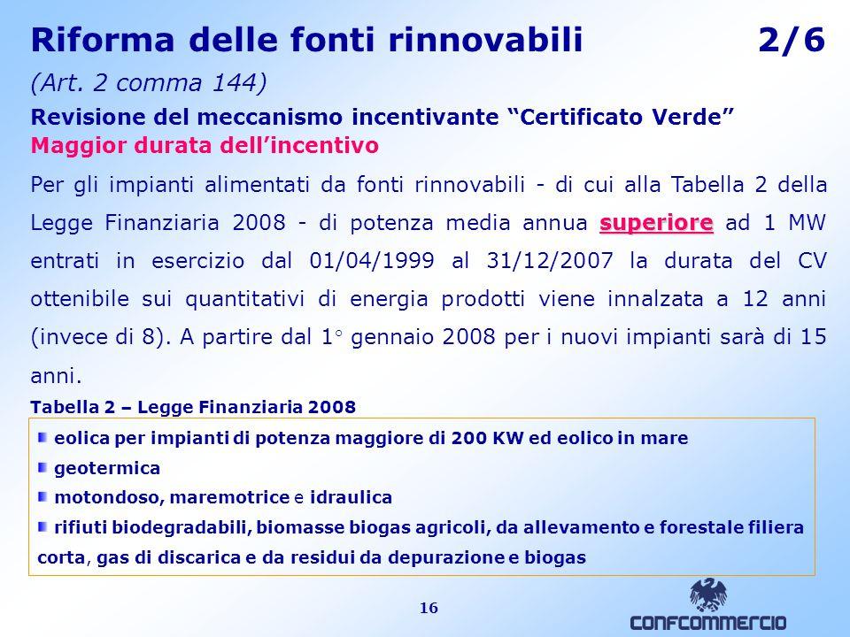 16 Riforma delle fonti rinnovabili 2/6 (Art.