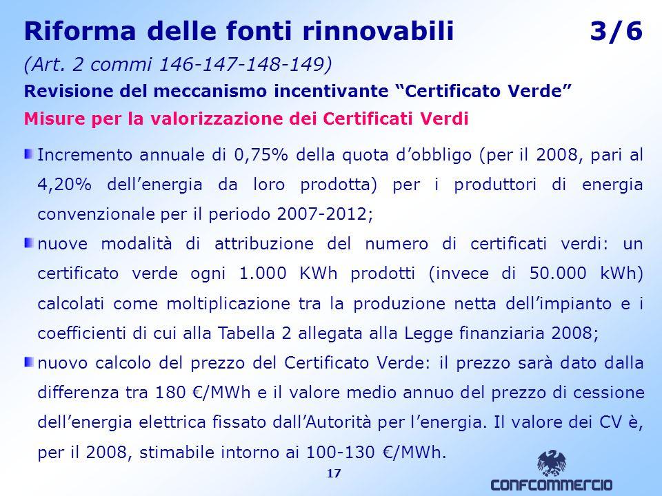 17 Riforma delle fonti rinnovabili 3/6 (Art.