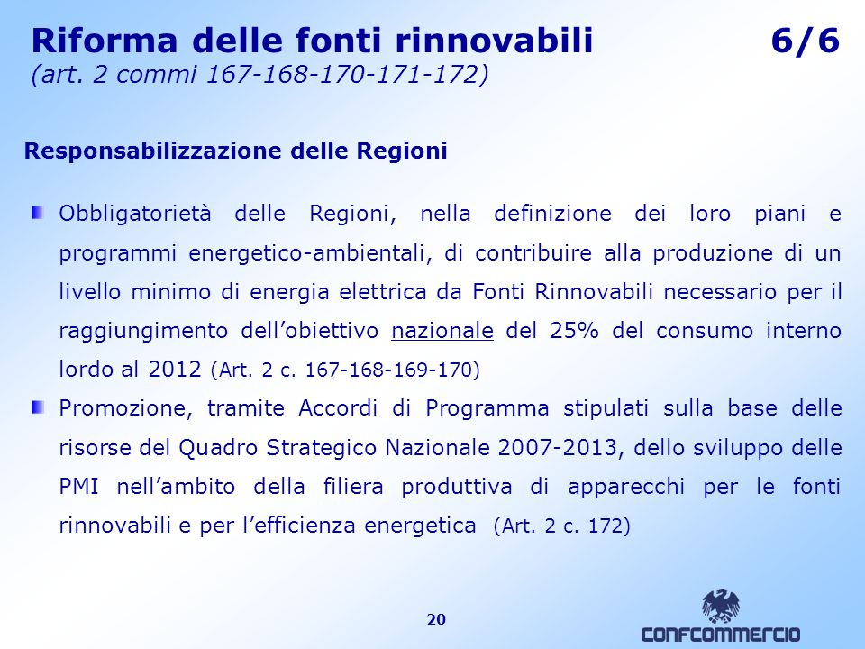 20 Riforma delle fonti rinnovabili 6/6 (art.