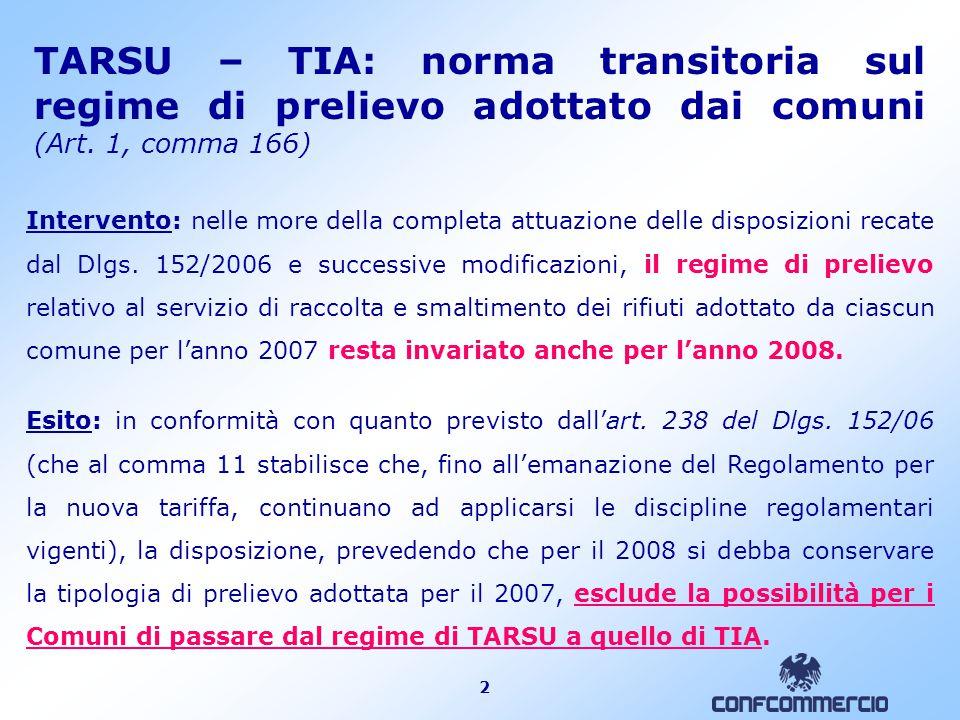 2 TARSU – TIA: norma transitoria sul regime di prelievo adottato dai comuni (Art.