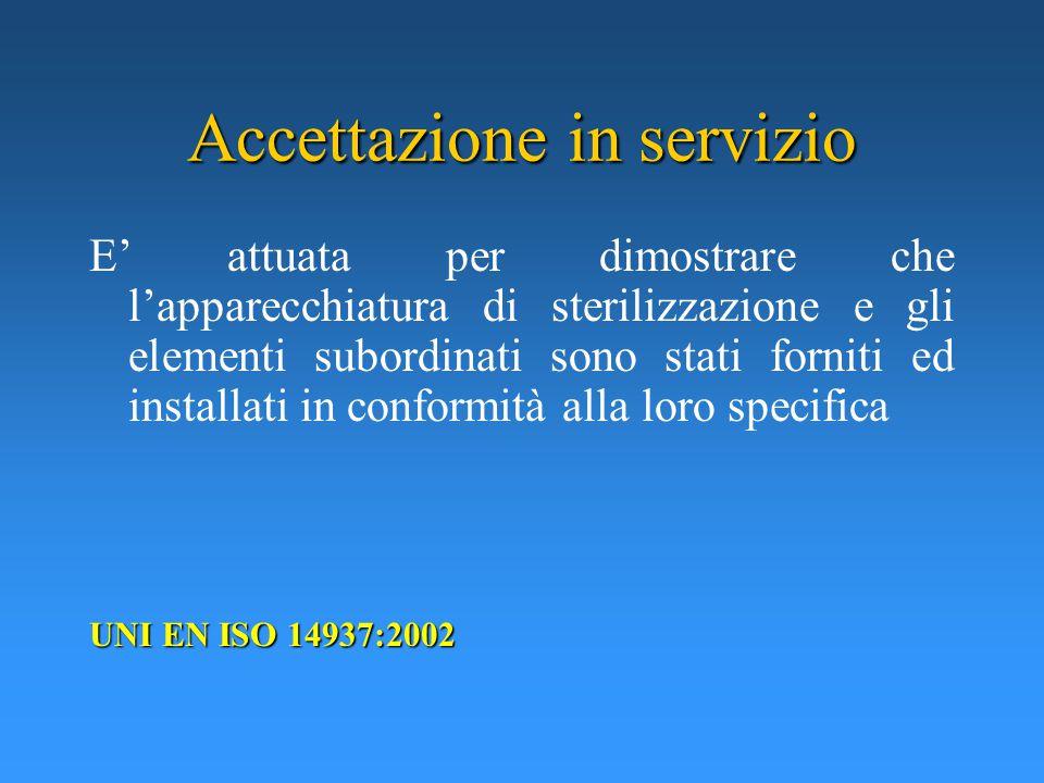 Accettazione in servizio E' attuata per dimostrare che l'apparecchiatura di sterilizzazione e gli elementi subordinati sono stati forniti ed installati in conformità alla loro specifica UNI EN ISO 14937:2002