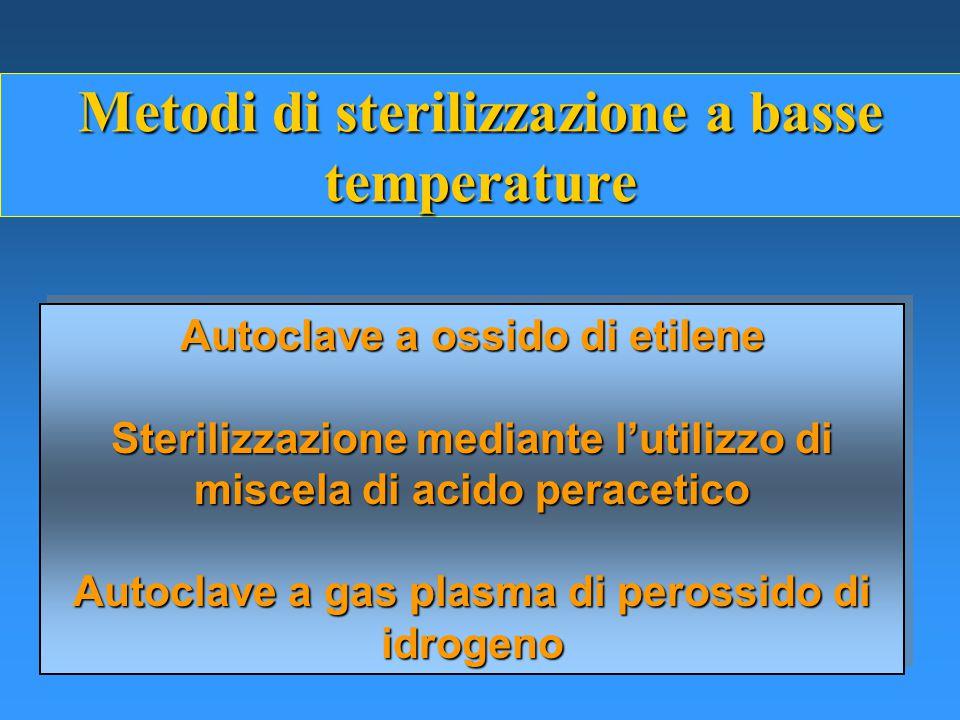 Metodi di sterilizzazione a basse temperature Autoclave a ossido di etilene Sterilizzazione mediante l'utilizzo di miscela di acido peracetico Autoclave a gas plasma di perossido di idrogeno Autoclave a ossido di etilene Sterilizzazione mediante l'utilizzo di miscela di acido peracetico Autoclave a gas plasma di perossido di idrogeno