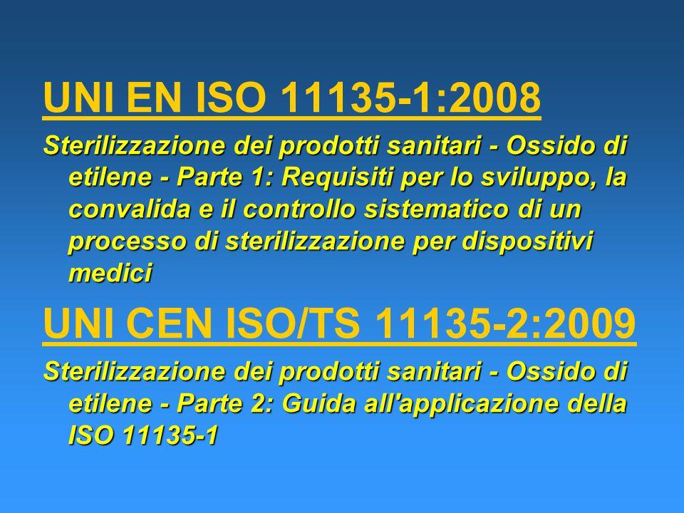 UNI EN ISO 11135-1:2008 Sterilizzazione dei prodotti sanitari - Ossido di etilene - Parte 1: Requisiti per lo sviluppo, la convalida e il controllo sistematico di un processo di sterilizzazione per dispositivi medici UNI CEN ISO/TS 11135-2:2009 Sterilizzazione dei prodotti sanitari - Ossido di etilene - Parte 2: Guida all applicazione della ISO 11135-1