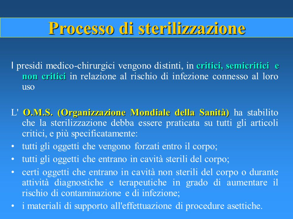 Indagine conoscitiva A.N.M.D.O. Aspetti gestionali delle centrali di sterilizzazione