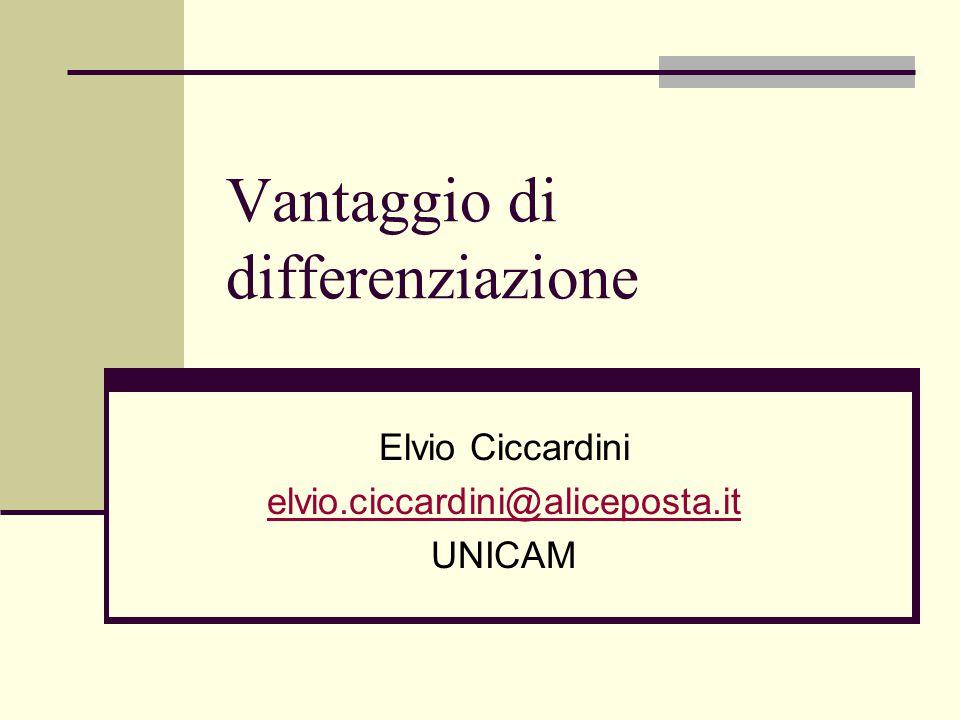 Vantaggio di differenziazione Elvio Ciccardini elvio.ciccardini@aliceposta.it UNICAM