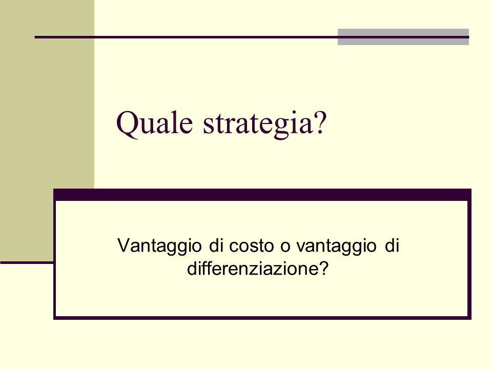 Quale strategia Vantaggio di costo o vantaggio di differenziazione