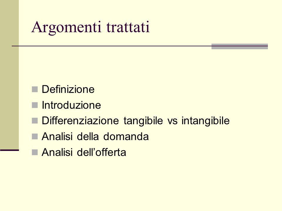 Argomenti trattati Definizione Introduzione Differenziazione tangibile vs intangibile Analisi della domanda Analisi dell'offerta