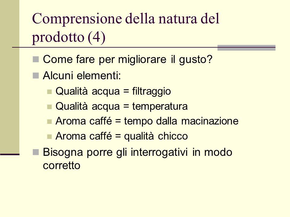 Comprensione della natura del prodotto (4) Come fare per migliorare il gusto.