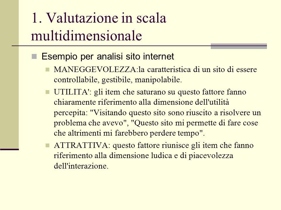 1. Valutazione in scala multidimensionale Esempio per analisi sito internet MANEGGEVOLEZZA:la caratteristica di un sito di essere controllabile, gesti