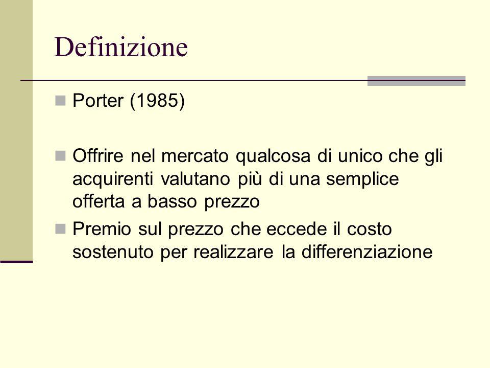 Definizione Porter (1985) Offrire nel mercato qualcosa di unico che gli acquirenti valutano più di una semplice offerta a basso prezzo Premio sul prezzo che eccede il costo sostenuto per realizzare la differenziazione