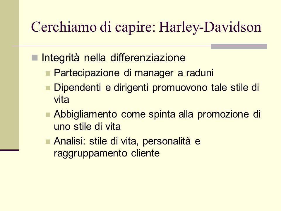 Cerchiamo di capire: Harley-Davidson Integrità nella differenziazione Partecipazione di manager a raduni Dipendenti e dirigenti promuovono tale stile di vita Abbigliamento come spinta alla promozione di uno stile di vita Analisi: stile di vita, personalità e raggruppamento cliente
