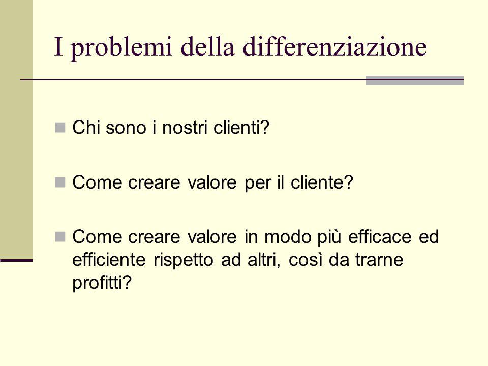 I problemi della differenziazione Chi sono i nostri clienti.
