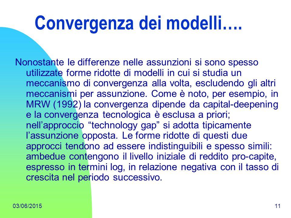 03/06/201511 Convergenza dei modelli…. Nonostante le differenze nelle assunzioni si sono spesso utilizzate forme ridotte di modelli in cui si studia u