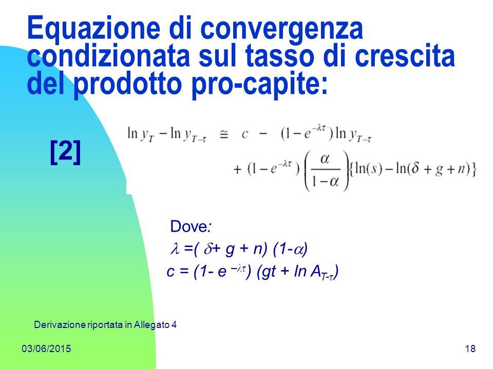 03/06/201518 Equazione di convergenza condizionata sul tasso di crescita del prodotto pro-capite: Dove: =(  + g + n) (1-  ) [2] c = (1- e – λτ ) (gt