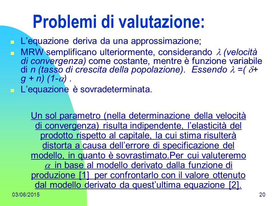 03/06/201520 Problemi di valutazione: L'equazione deriva da una approssimazione; MRW semplificano ulteriormente, considerando  (velocità di convergen