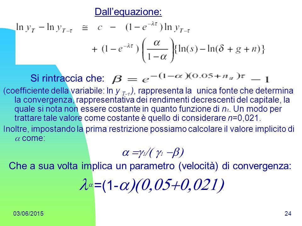 03/06/201524 (coefficiente della variabile: ln y T-  ), rappresenta la unica fonte che determina la convergenza, rappresentativa dei rendimenti decr