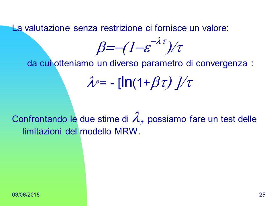 03/06/201525 La valutazione senza restrizione ci fornisce un valore:    da cui otteniamo un diverso parametro di convergenza :  = - [ ln