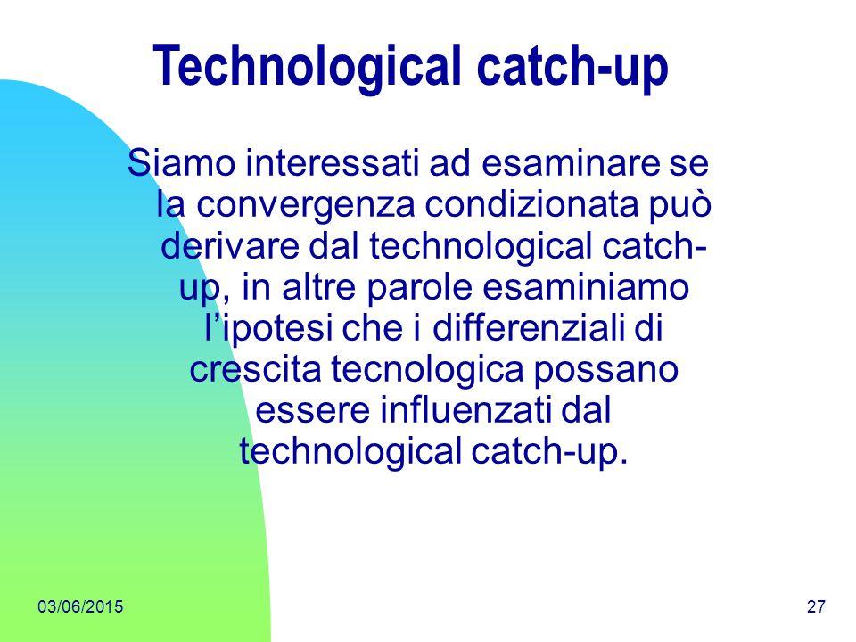 03/06/201527 Technological catch-up Siamo interessati ad esaminare se la convergenza condizionata può derivare dal technological catch- up, in altre p