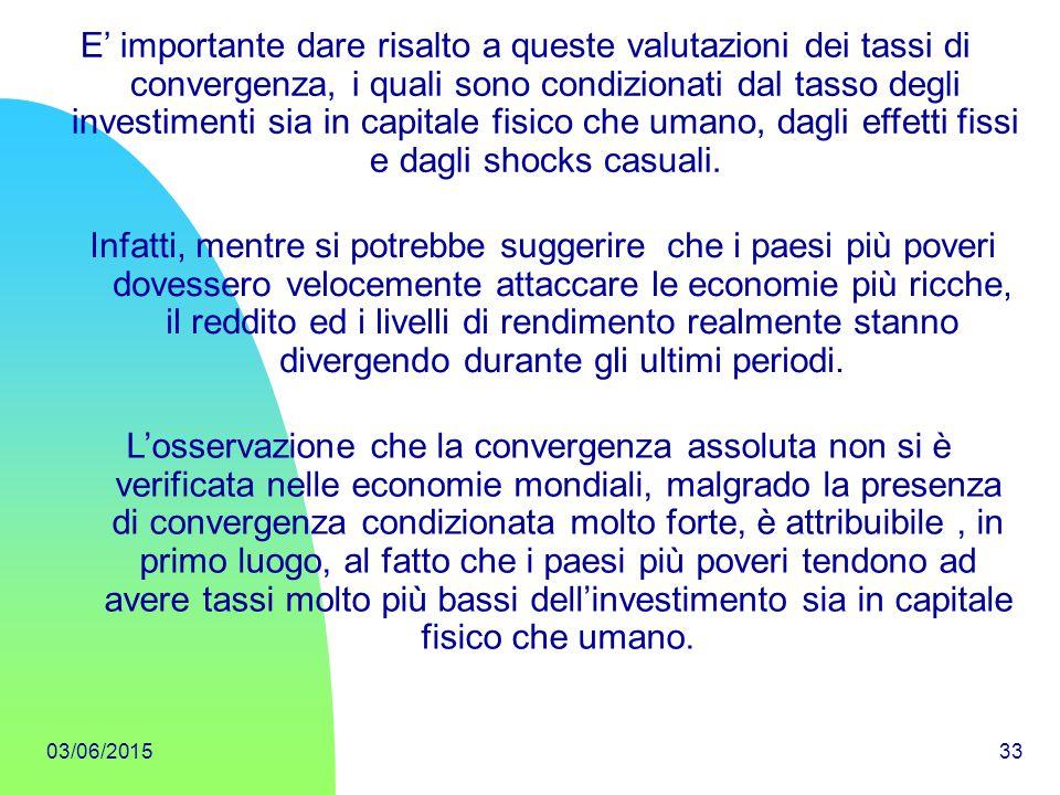 03/06/201533 E' importante dare risalto a queste valutazioni dei tassi di convergenza, i quali sono condizionati dal tasso degli investimenti sia in c