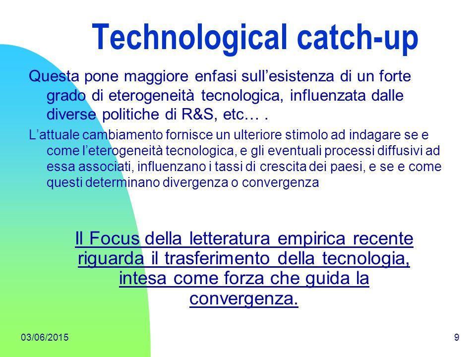 03/06/20159 Technological catch-up Questa pone maggiore enfasi sull'esistenza di un forte grado di eterogeneità tecnologica, influenzata dalle diverse