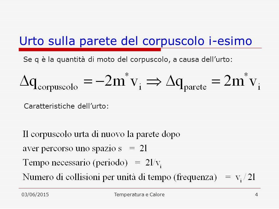 03/06/2015Temperatura e Calore4 Urto sulla parete del corpuscolo i-esimo Se q è la quantità di moto del corpuscolo, a causa dell'urto: Caratteristiche dell'urto: