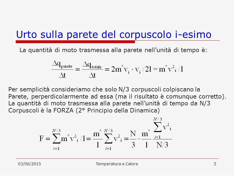 03/06/2015Temperatura e Calore5 Urto sulla parete del corpuscolo i-esimo La quantità di moto trasmessa alla parete nell'unità di tempo è: Per semplicità consideriamo che solo N/3 corpuscoli colpiscano la Parete, perperdicolarmente ad essa (ma il risultato è comunque corretto).