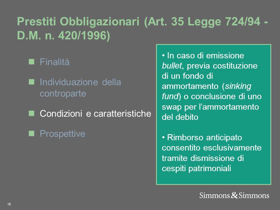 18 Prestiti Obbligazionari (Art. 35 Legge 724/94 - D.M.