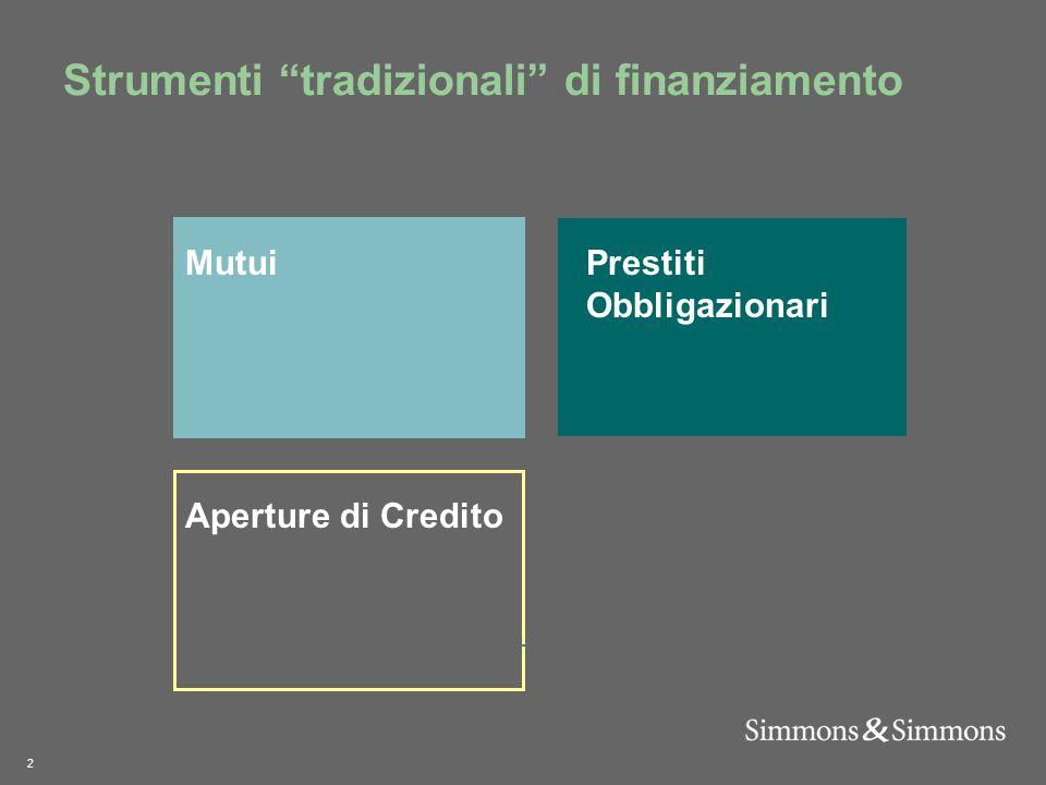 2 Strumenti tradizionali di finanziamento Aperture di Credito MutuiPrestiti Obbligazionari