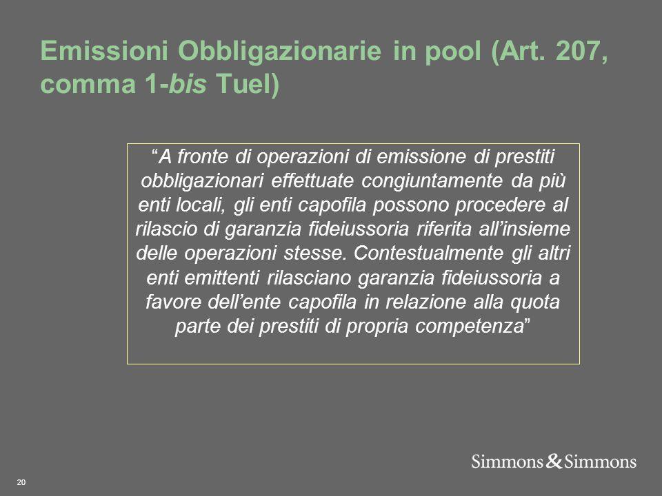20 Emissioni Obbligazionarie in pool (Art.