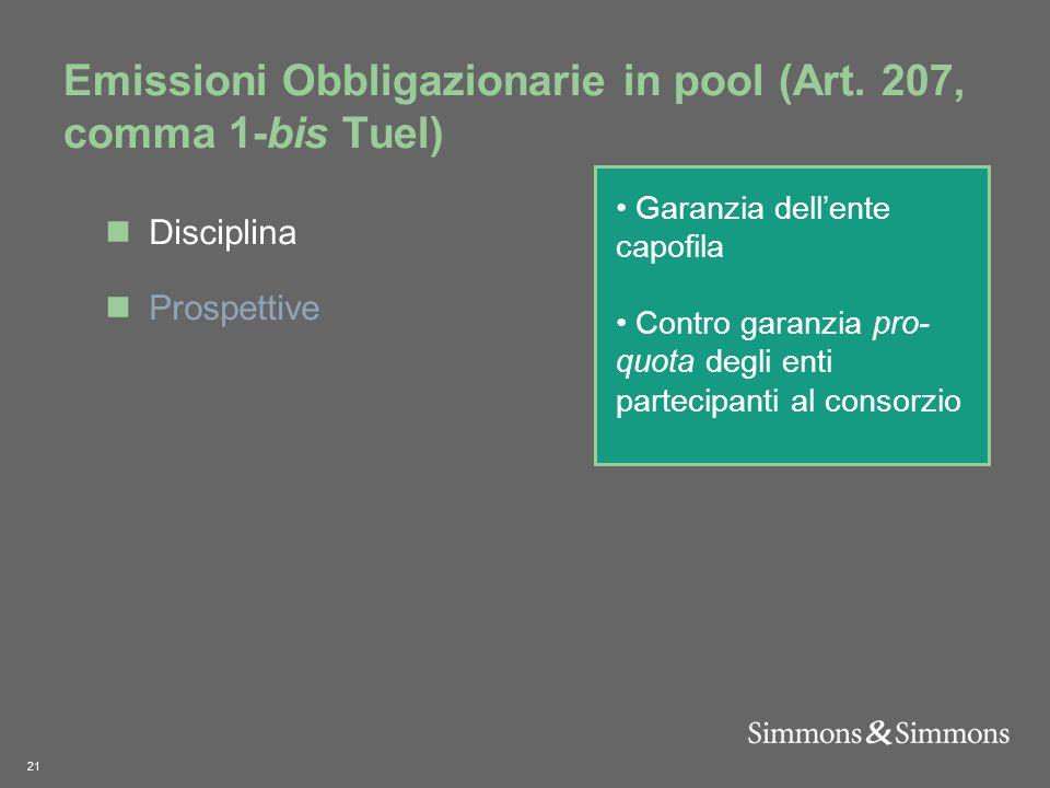 21 Emissioni Obbligazionarie in pool (Art.