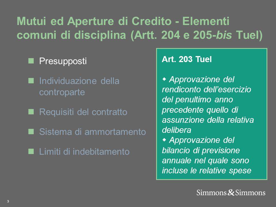 3 Mutui ed Aperture di Credito - Elementi comuni di disciplina (Artt.