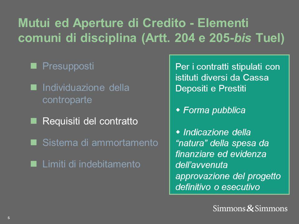 5 Mutui ed Aperture di Credito - Elementi comuni di disciplina (Artt.