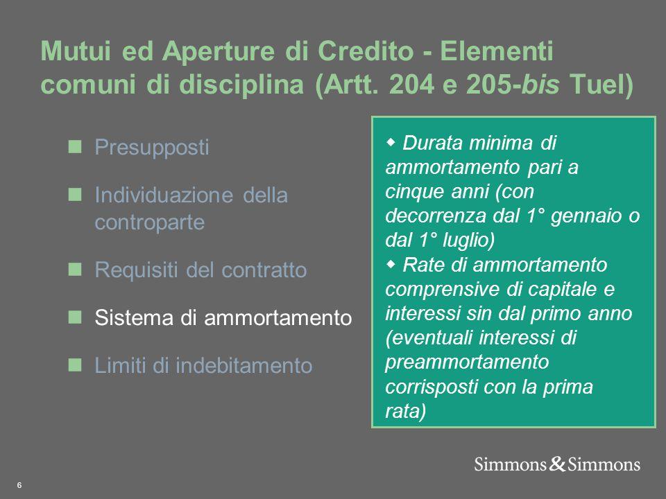 6 Mutui ed Aperture di Credito - Elementi comuni di disciplina (Artt.
