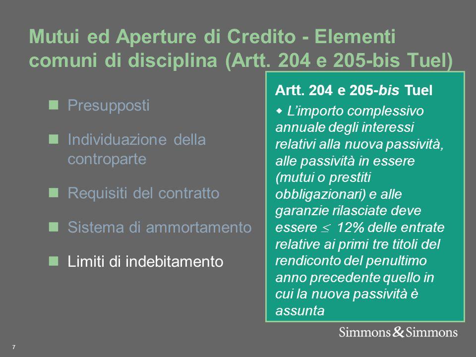 7 Mutui ed Aperture di Credito - Elementi comuni di disciplina (Artt.