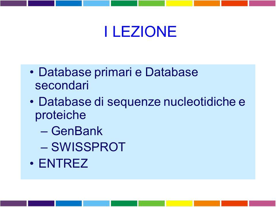 DATABASE PRIMARI DATABASE DI SEQUENZE PROTEICHE SWISS-PROT Database di sequenze proteiche annotate, scarsamente ridondanti e cross-referenced Contiene TrEMBL, supplemento a SWISS-PROT costituito dalle sequenze annotate al computer, come traduzione di tutte le sequenze codificanti presenti all'EMBL TrEMBL contiene due sezioni: SP-TrEMBL, sequenze da incorporare in SWISSPROT, con AC.