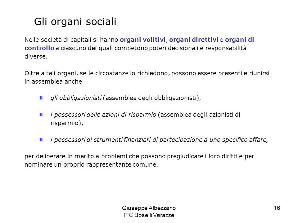 Giuseppe Albezzano ITC Boselli Varazze 16 Gli organi sociali Nelle società di capitali si hanno organi volitivi, organi direttivi e organi di controll