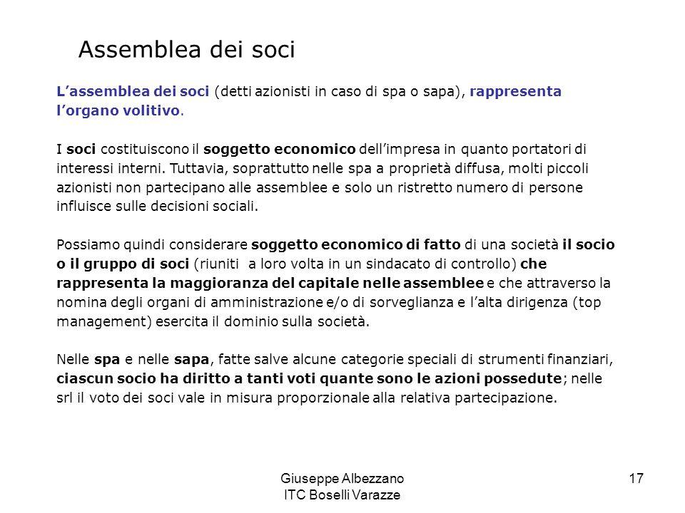 Giuseppe Albezzano ITC Boselli Varazze 17 Assemblea dei soci L'assemblea dei soci (detti azionisti in caso di spa o sapa), rappresenta l'organo voliti