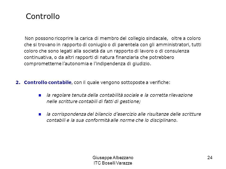 Giuseppe Albezzano ITC Boselli Varazze 24 Controllo Non possono ricoprire la carica di membro del collegio sindacale, oltre a coloro che si trovano in